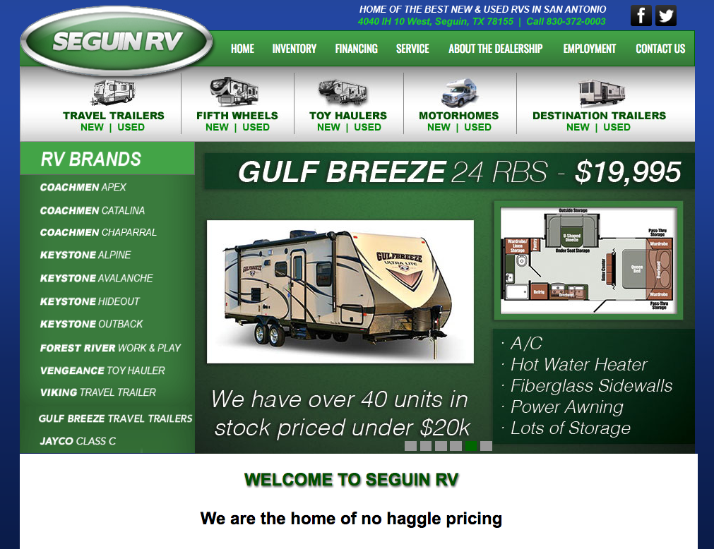 SeguinRV.com Website Screenshoot
