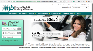 Middlefield Bank Company Website