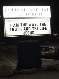 Street Sign of First Baptist Church Burnet, Texas